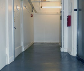 Another view of the hallway flooring that's been resurfaced in this New York City office space. (thumbnail)