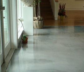 Subtle patterns can be seen in the metallic epoxy floor of the DeDee Shattuck Gallery. (thumbnail)