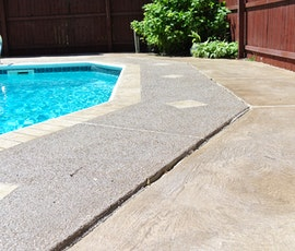 Because Uberdek is slip resistant it is ideal for use around swimming pools and other exterior concrete surfaces that are prone to be wet. (thumbnail)