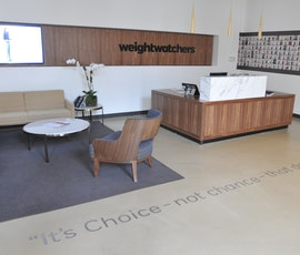 This concrete resurfacing even looks great in the offices of this corporate headquarters. (thumbnail)
