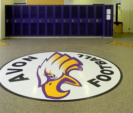 The Endura Resin Chip Concrete Floor system was the perfect choice for this high schools football locker room due to it's wearability and moisture resistance. (thumbnail)