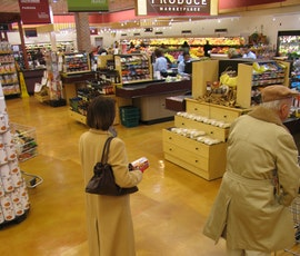 The flooring in the Hienen's grocery store is a concrete microtopping, Skraffino that was subsequently dyed with DESO dyes. Sealed with water based epoxy and polyurethane.  (thumbnail)
