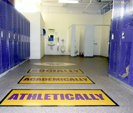 Floor graphics can be stenciled on our garage floor epoxy coating system. (thumbnail)