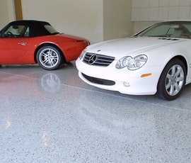 Another view of this auto showroom that has had Duraamen's Endura resin chip flooring system installed. (thumbnail)
