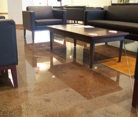 This church foyer in Tulsa, OK utilizes beautiful stained concrete as its flooring. It is sealed with a polyurethane top coat. (thumbnail)
