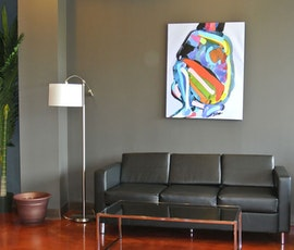 The lobby has the appearance of an art gallery thanks to Lumiere Designer Epoxy from Duraamen. (thumbnail)