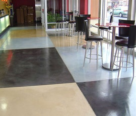 A concrete overlay / microtopping from Duraamen was installed in this food court. (thumbnail)