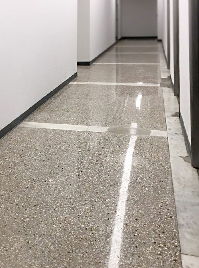Image of a polished concrete floor in a NYC building