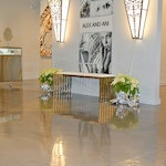 Image 2 of the polished concrete floor in the Alex and Ani flagship retail jewelry store in Providence, RI. The polished concrete was installed over a gypsum-based underlayment using Skraffino from Duraamen.