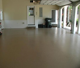 Duraamen's garage floor epoxy coating system is available in many colors with many color variations of resin chips so you can achieve a look that matches your home. (thumbnail)