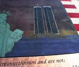 The American 9/11 tribute was created using resinous flooring products. (thumbnail)