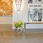 Image 6 of the polished concrete floor in the Alex and Ani flagship retail jewelry store in Providence, RI. The polished concrete was installed over a gypsum-based underlayment using Skraffino from Duraamen.