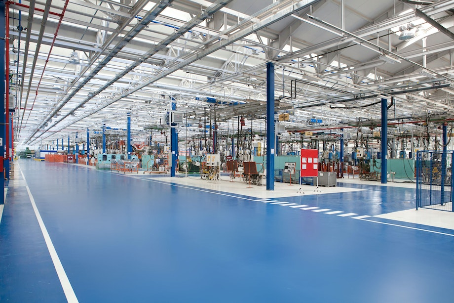 Polyaspartic floor coatings are often used in industrial facilities as shown here.