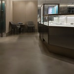 """Polished concrete floor in the Tiffany & Co. """"pop-up"""" store in NYC. Terrazzi sprayable polished concrete."""