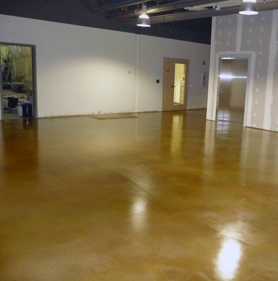 stained concrete lobby floor