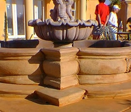 A detail photo of the fountain that was created with a decorative concrete overlay. (thumbnail)