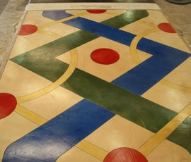 Graphics Treatments on concrete Using Dyes & Stains