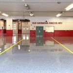 This Firehouse in Saybrook, CT had Düraamen's Kwortz flooring system installed. The installation used a double broadcast of quartz granules.  Don Pinger  of Custom Concrete Solutions recognizes the high quality and durability of Düraamen products, which is why he chose Kwortz for the job. (thumbnail)