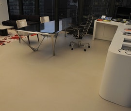 This print center has an upscale look thanks to the Skraffino concrete microtopping used on the resurfaced floor. (thumbnail)