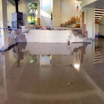 The Hawkins residence: Concrete floor using a concrete overlay from Duraamen. Image 10