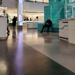 """Polished concrete floor in the Tiffany & Co. """"pop-up"""" store in NYC."""