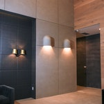 Residential building lobby, Brooklyn, NY: Minimalist interior design, concrete walls and floors using a microtopping 02