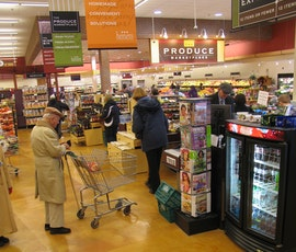 The checkout section of the Hudson, Ohio Heinens stained in tan with DESO dyes.  (thumbnail)
