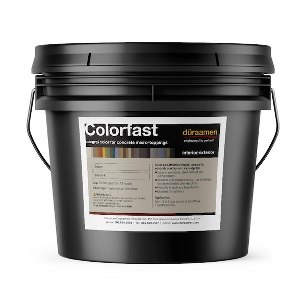 Colorfast integral color for concrete overlays / micro-toppings