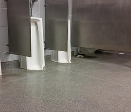 Overflow from urinals is no match for Kwortz flooring. (thumbnail)