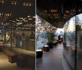 A day/night comparison photo showing how the concrete overlay floor helps retain the contemporary style of Stereokitchen in any kind of lighting. (thumbnail)