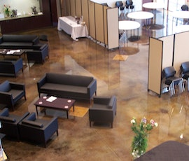 High shine, dyed concrete in the church banquet center as shown from above.  (thumbnail)