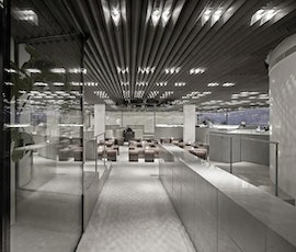 Stereokitchen has viewed from the entrance into the interior space.  (thumbnail)