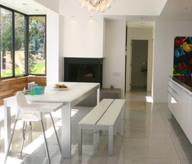 A concrete overlay was an ideal option for the residential kitchen and living space. (thumbnail)