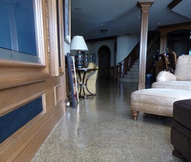 It looks great and is durable enough to cover the large areas of this basement floor. (thumbnail)