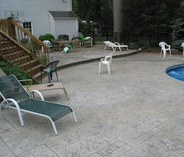 Pool areas are perfect for the application of stampable concrete overlays. (thumbnail)