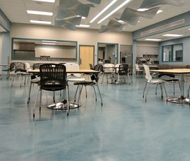 The cafeteria is a more pleasant place to dine thanks to the metallic epoxy flooring. (thumbnail)