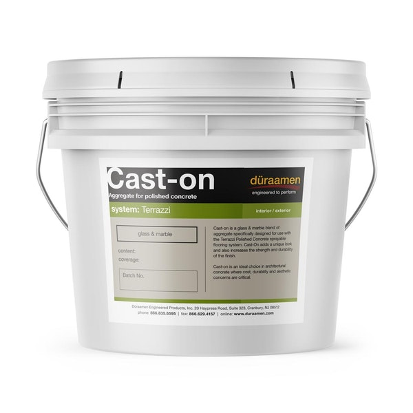 Cast-on fine-grade aggregate for sprayable polished concrete flooring