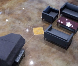 Church seating area with grand piano as viewed from above.  (thumbnail)