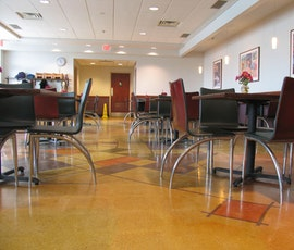 Decorative polished concrete is seen here for use in a grocery stores cafeteria. (thumbnail)