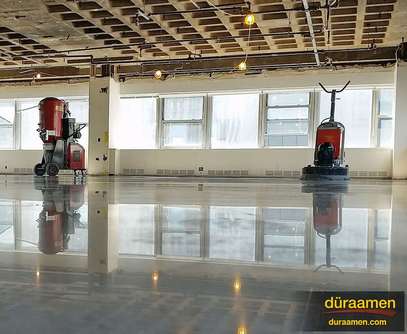 Polished concrete in process duraamen for 116 west 23rd street 5th floor new york ny 10011