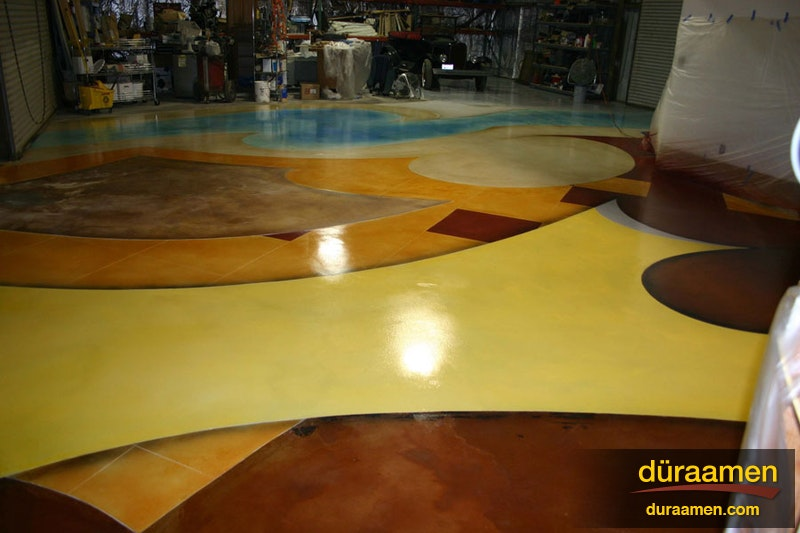 Graphics treatments on concrete using dyes stains duraamen for 116 west 23rd street 5th floor new york ny 10011