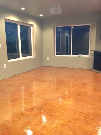 Diy Stained Concrete Flooring Over Gypsum Underlayment
